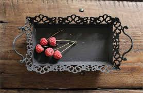 Decorative Metal Serving Trays Metal Serving Tray with Handles Rustic Black 37