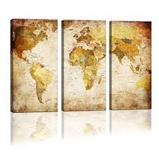 youkuart canvas prints map art 3 panels world map wall art antiquated style framed on 5 panel giant dragon wall art canvas with amazon youkuart canvas prints map art 3 panels world map wall