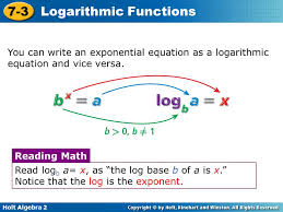holt algebra 2 7 3 logarithmic functions you can write an exponential equation as a
