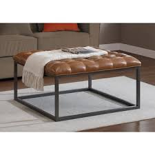 Carbon Loft Healy Saddle Brown Leather Tufted Ottoman - Free Shipping Today  - Overstock.com - 15254116