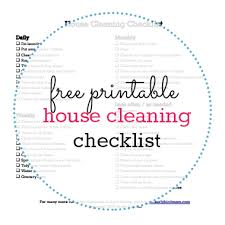 Printable House Cleaning Checklist