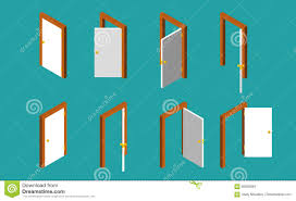 White Isometric Door. Set Of The Opened And Closed Doors. Vector ...