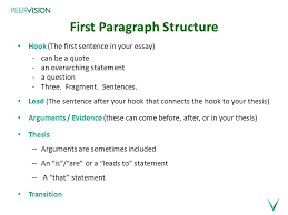 writing the essay mentoring modelling first paragraph structure  first paragraph structure hook the first sentence in your essay can be a