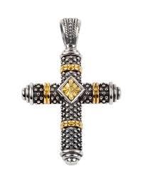 konstantino men s sterling silver 18k gold cross pendant