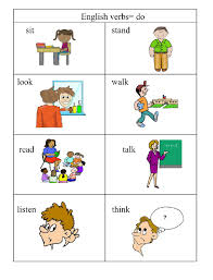 verbs doing words english me  english verbs pg 1 pictures and words