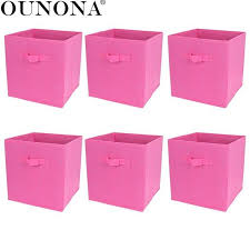 6pcs foldable collapsible fabric storage cube baskets boxes bins organizer toys books storage collection containers drawers