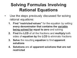 40 solving formulas involving rational equations