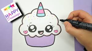 cute cupcake drawing.  Drawing HOW TO DRAW A CUTE CUPCAKE UNICORN  SUPER EASY AND KAWAII Throughout Cute Cupcake Drawing D