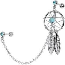 Dream Catcher Helix Earring 100 Gauge Aqua Gem Inspire Dreamcatcher Cartilage Tragus Barbell 12