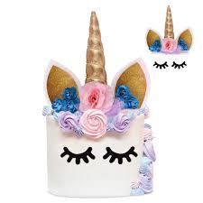 Unicorn Cake Topper With Eyelashes And Flowers Handmade Gold