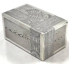 Decorating Cigar Boxes Russian silver cigar box with trompe l'oeil engraved decoration 70