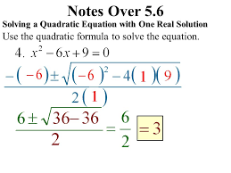 notes over 5 6 use the quadratic formula to solve the equation