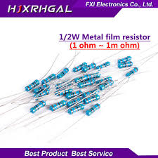 Online Shop <b>50pcs</b> 1/2W <b>Metal film</b> resistor 1% 1R ~ 1M 1 2 10 22 ...