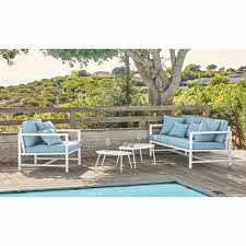 2 3 seater garden bench in white aluminium with light blue cushions ithaque