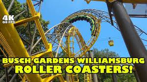 busch gardens williamsburg roller coasters front seat onride povs 4k