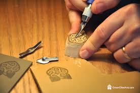 lino carving for leather embossing