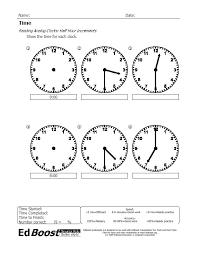 Time: Reading Analog Clocks, Half Hour Increments | EdBoost