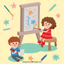 kids painting picture.  Painting Two Beautiful Kids Painting Free Vector With Kids Painting Picture