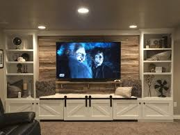 Custom Built Tv Wall Units Brown Cabinet With Tv Stand 3 Seats Sofa Black  Or Brown Color Interior Decoration For Fireplace Massaging Recliner Chair