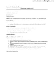 Resume For Assembly Line Worker Production Line Resume Sample