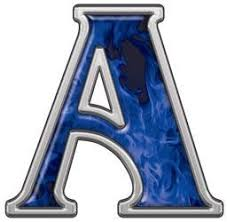 Blue Letters Reflective Letter A With Inferno Blue Flames