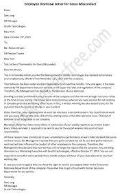 Sample Dismissal Letter Employee Dismissal Letter For Gross Misconduct