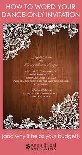 Dance Only Invitation Wording Anns Bridal Bargains