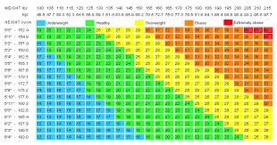 Bmi Index Chart Metric Bmi Bismi Margarethaydon Com