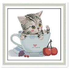 Cat Cross Stitch Patterns Beauteous The Cat In The Cup joy sunday cross stitch Needlework Kits Chinese