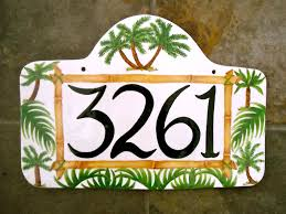 Decorative House Numbers Custom Ceramic Pottery Personalized House Numbers Sign Plaque By