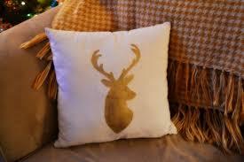 Gold Deer Head Christmas Pillow