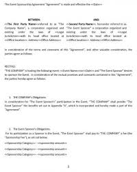 sponsorship agreement ne0285 event sponsorship agreement template english namozaj