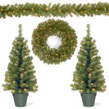 Home Depot Lighted Garland National Tree Company Promotional Assortment With 2 3 Ft Pre Lit Entrance Trees 9 Ft Pre Lit Garland And 24 In Pre Lit Wreath