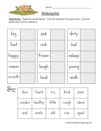 Antonym Worksheets | Have Fun Teaching