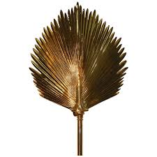 wall mounted brass palm frond lamp in the style of tommaso barbi for at 1stdibs