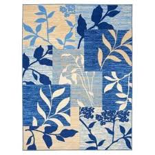 5x7 blue rug collection fl patchwork design ivory blue 5 ft x 7 ft non hana