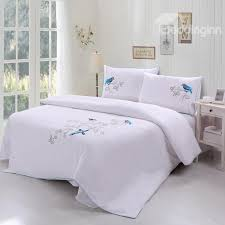 blue bird printed handmade embroidery cotton 4 piece bedding set duvet cover