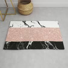modern black white marble rose gold color block stripes pattern rug
