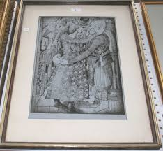 After Stanley Spencer - 'Me Greeting Hilda', monochrome print, inscribed,  titled, editione