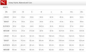 Puma Clothing Size Chart Uk Puma Clothing Size Chart Uk Best Picture Of Chart Anyimage Org