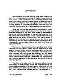 lennie small is the central character in the novel of mice and page 1 zoom in
