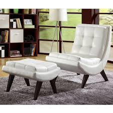 INSPIRE Q Albury White Faux Leather Chair with Ottoman by iNSPIRE Q. Living  Room ChairsLounge ...