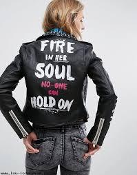bershka stud and graffiti biker jacket women black biker jackets