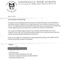 Appreciation Letter from Unionsville Highschool Markham WEB