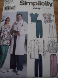 Lab Coat Size Conversion Chart Sewing Pattern Simplicity 5443 Medical Scrubs Lab Coat Top