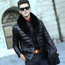 leather jacket men fur coat biker motorcycle 2016 fashion slim with collar nice for 4 sofa shearling leather coat men
