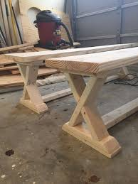 exterior: Simple Idea Of Long Diy Patio Bench Concept Made Of Wooden  Material In Natural Color With Strong Seat Also Legs For Garden Furniture -  Antique DIY ...