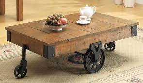 industrial furniture wheels. Wonderful Rustic Coffee Table With Wheels Furniture Industrial Intended For Wheel Modern U