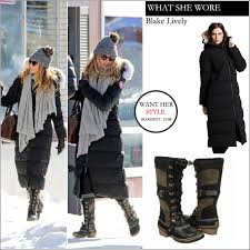 who blake lively with her husband ryan reynolds taking a walk in sudbury canada on february 9th 2016 what she wore long black winter parka from canada