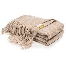 decorative thick chenille throw blanket for couch throws sofa cover soft bedding throw blanket with fringe 60 x 50 inch light brown com